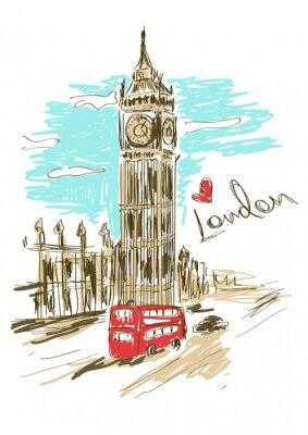 Sticker Sketch Abbildung von Big Ben-Turm