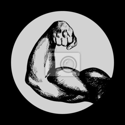 Sketch Illustration des muskulösen männlichen Menschen rechten Arm