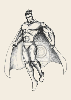 Sketch Illustration eines Superhelden in Pose fliegen