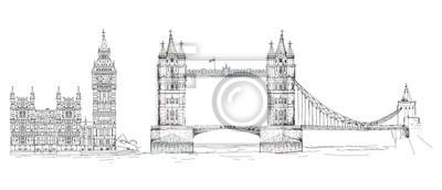 Sketch of famous buildings. London, Tower bridge Big Ben