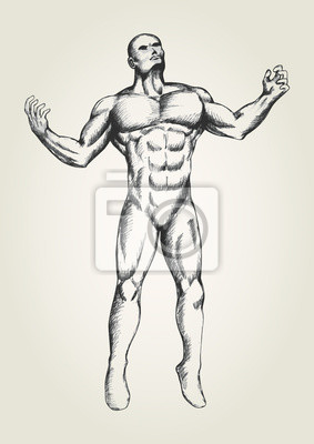 Sketch of muscular man with open arms, looking up