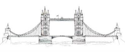 Sketch Sammlung von berühmten Gebäuden. London, Tower Bridge