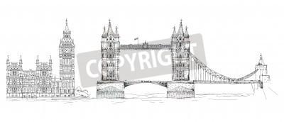 Sketch Sammlung von berühmten Gebäuden. London, Tower Bridge, Big Ben
