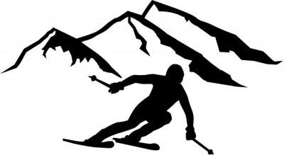 Sticker Ski Run Mountains Hintergrund