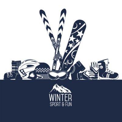 Sticker Skifahren. Extreme Wintersportarten.