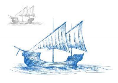 Sticker Skizze der alten mittelalterlichen Segelschiff