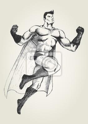 Skizze Illustration einer fliegenden Superhelden in Pose