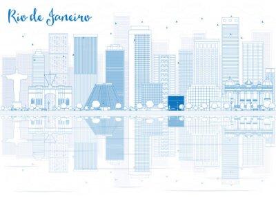 Sticker Skizze Rio de Janeiro mit blauen Gebäuden.