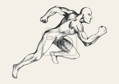 Skizze Zeichnung eines Mannes zu einem schnellen Start