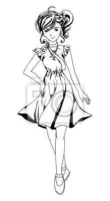 Skizziert Illustration eines Mädchens in Anime-Stil