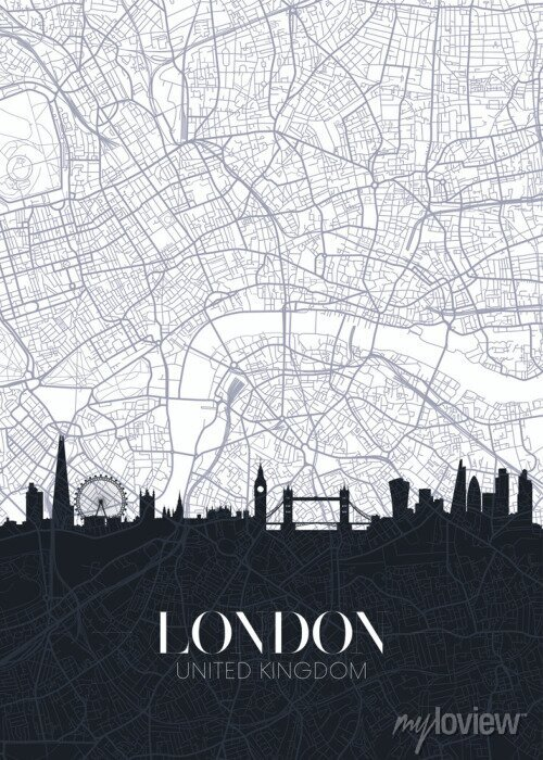 Sticker Skyline and city map of London, detailed urban plan vector print poster