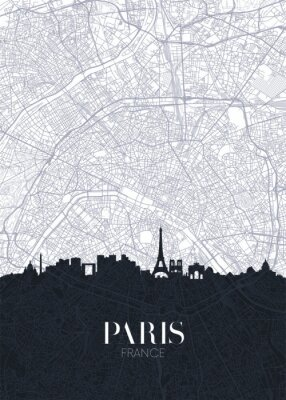 Skyline and city map of Paris, detailed urban plan vector print poster
