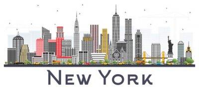 Sticker Skyline New York USA mit den grauen Wolkenkratzern lokalisiert auf weißem Hintergrund.