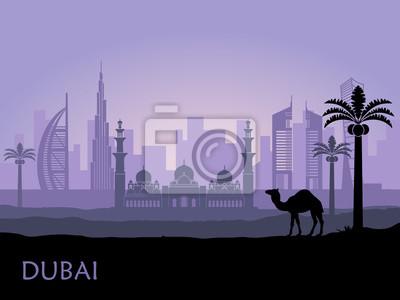 Skyline von Dubai mit Kamel und Dattelpalme. Vereinigte Arabische Emirate