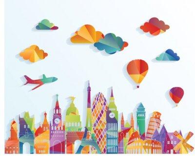 Sticker Skyline von Europa. Abbildung