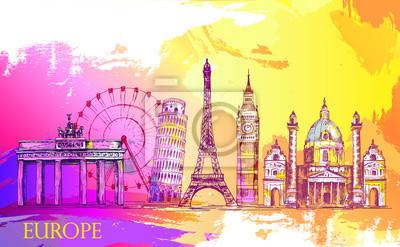Skyline von Europa, detaillierte Silhouette.Reise Wahrzeichen. Vektor-Illustration, Hand gezeichnete Grafik, sketh, künstlerische Splash Farbe, schöne bunte Karte mit Architektur
