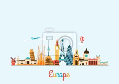 Skyline von Europa. Reisen und Tourismus Hintergrund.