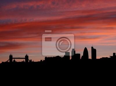 Skyline von London 2011 mit einem Sonnenuntergang Illustration