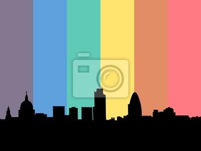 Skyline von London mit Regenbogen Flagge Illustration