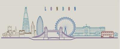 Sticker Skyline von London. Vektor Hintergrund. Gliederung grafische Darstellung.