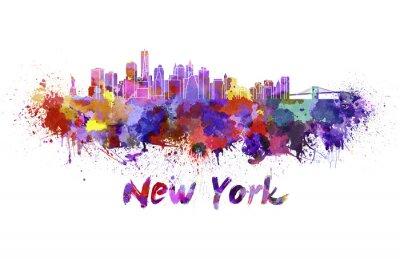 Sticker Skyline von New York in Aquarell