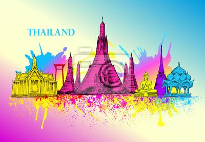 Skyline von Thailand, detaillierte Silhouette.Reise Wahrzeichen. Vektor-Illustration, Hand gezeichnete Grafik, Kunst, Splash Farbe violett und gelb, blau, schöne bunte Karte mit Architektur