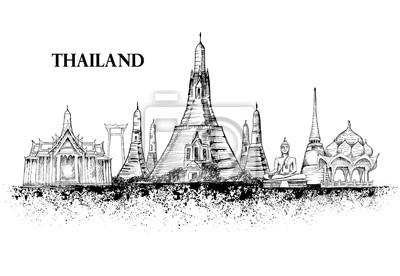 Skyline von Thailand, detaillierte Silhouette.Reise Wahrzeichen. Vektor-Illustration, Hand gezeichnete Grafik, Tinte splash, Schwarz-Weiß-Architektur