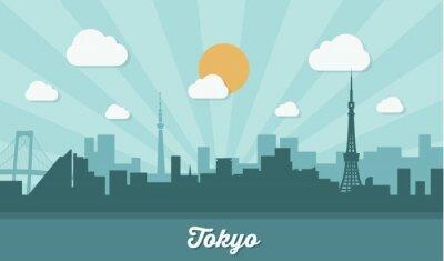 Sticker Skyline von Tokio - flaches Design