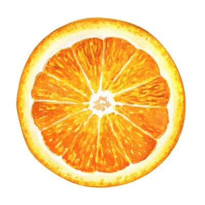 Sticker Slice von frischen Orangen isoliert auf weißem Hintergrund