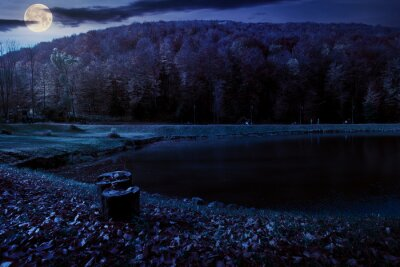 small lake in autumn park at night. forest on the hills in fall colors in full moon light. green grass on the shore. beautiful nature scenery on a sunny day