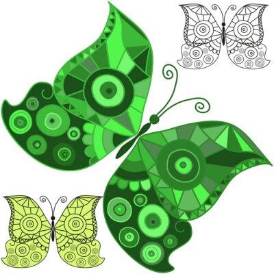 Small set of drawn butterflies