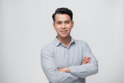 Sticker Smart asian business man on white
