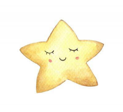 Sticker Smile face in the shape of star. Isolated on white background. Hand drawn watercolor illustration.