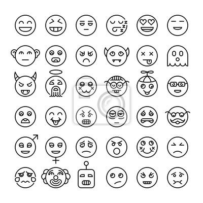 Smileys im modernen Stil. Verschiedene Emotionen Gesichter. Emoticons-Sammlung.