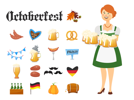 Smiling Bavarian woman dressed in traditional costume and apron with beer glasses and set of Oktoberfest icons. Traditional symbols of autumn holiday of beer isolated on white background. Cartoon styl