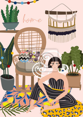 Smoking lady in bohemian interior. Colored vector illustration