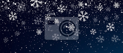 Sticker Snow. Realistic snow overlay background. Snowfall, snowflakes in different shapes and forms. Snowfall isolated on transparent background