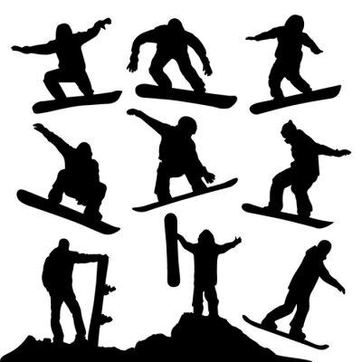 Sticker Snowboard Silhouetten