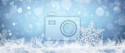 Sticker Snowflake On Natural Snowdrift Close Up - Christmas And Winter Background