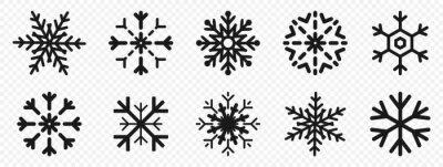 Sticker Snowflakes. Snowflakes in flat design. Black snowflake. Snowflakes, isolated. Vector illustration