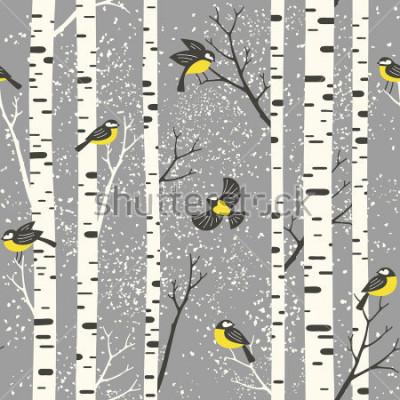 Sticker Snowy-Birkenbäume und -vögel auf grauem Hintergrund. Nahtloses vektormuster. Perfekt für Stoff-, Tapeten-, Geschenkpapier- oder Postkartendesign.