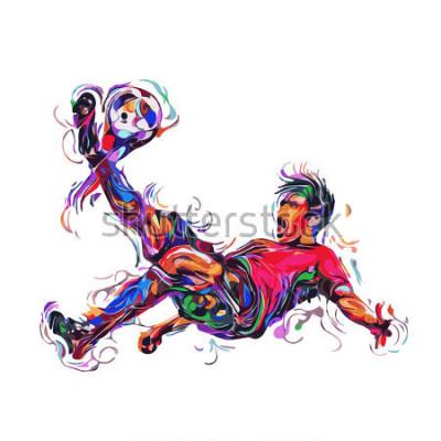 Sticker soccer player colorful kicks / art