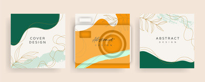 Sticker Social media stories and post creative Vector set. Background template with copy space for text and images design by abstract colored shapes,  line arts , Tropical leaves  warm color of the earth tone