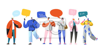 Sticker Social Networking Virtual Relationships Concept. Flat People Characters Chatting via Internet Using Smartphone. Group of Man and Woman with Mobile Phones. Vector illustration