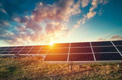 Sticker Solar Panels Against The Deep Blue Sky