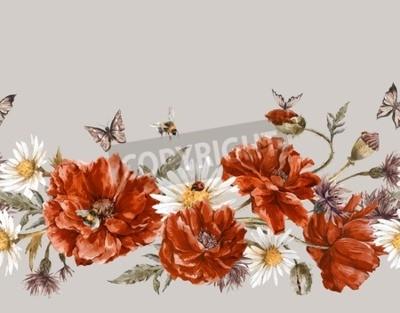 Sommer Aquarell Vintage Floral nahtlose Border mit blühenden roten Mohnblumen Kamille Marienkäfer und Gänseblümchen Cornflowers Bumblebee Biene und blaue Schmetterlinge, Aquarell-Illustration auf weiß