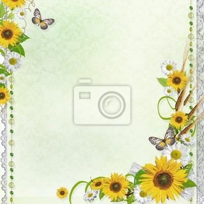 Sommer-Hintergrund mit Schmetterlingen und Blumen (1 Satz)