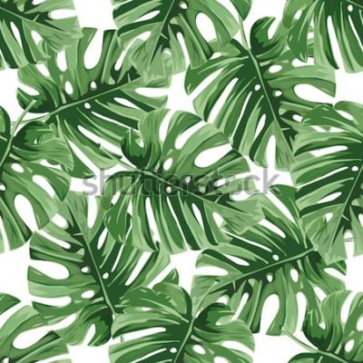 Sticker Sommer Hintergrund. Tropische Palmblätter, Dschungel verlässt nahtloses Vektorblumenmuster.