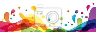 Sticker Sommer Hintergrund und Banner mit Wasser, Spritzer und Wellen in Vektor abstrakte Form