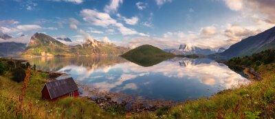 Sticker Sommer Sonnenuntergang Panorama der Lofoten Inseln, Norwegen
